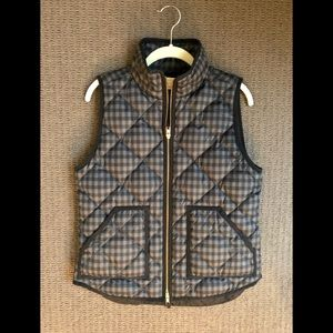 J Crew Plaid Preppy Lightweight Puffer Zip up Vest